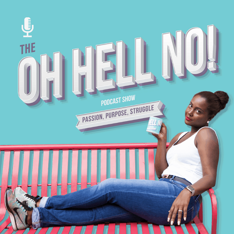 The Oh Hell No Podcast with K Nicole Bent sitting on a red bench with a cup in her hand