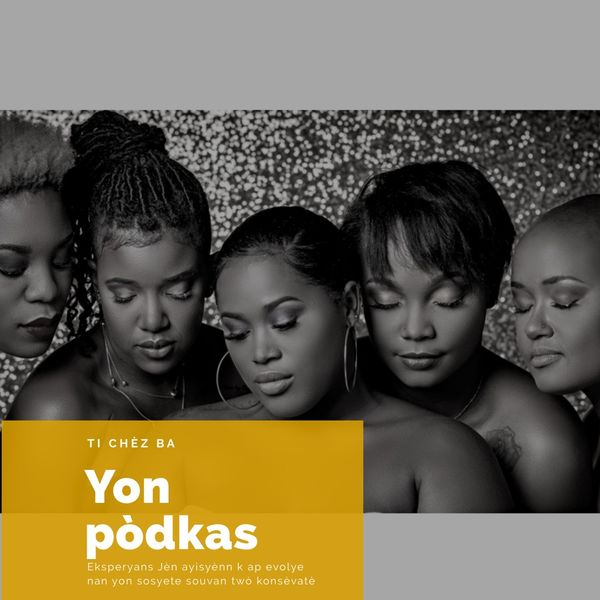 Ti Chez Ba podcast cover art with 4 women